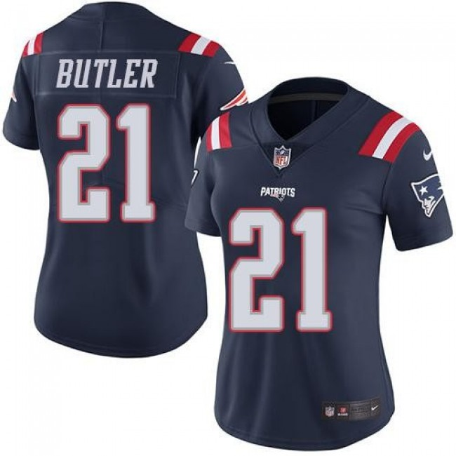 Women's Patriots #21 Malcolm Butler Navy Blue Stitched NFL Limited Rush Jersey
