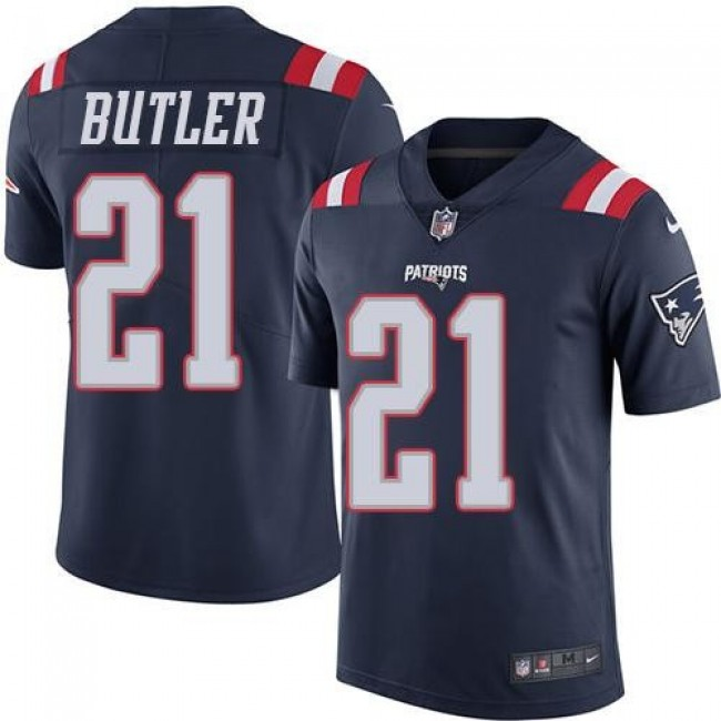 New England Patriots #21 Malcolm Butler Navy Blue Youth Stitched NFL Limited Rush Jersey