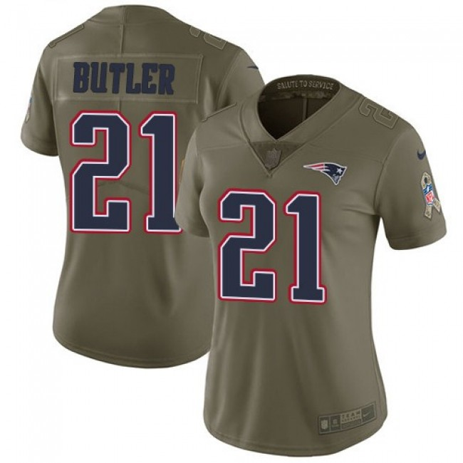 Women's Patriots #21 Malcolm Butler Olive Stitched NFL Limited 2017 Salute to Service Jersey