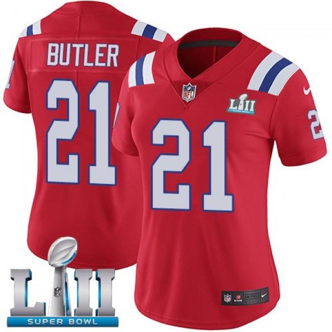Women's Patriots #21 Malcolm Butler Red Alternate Super Bowl LII Stitched NFL Vapor Untouchable Limited Jersey