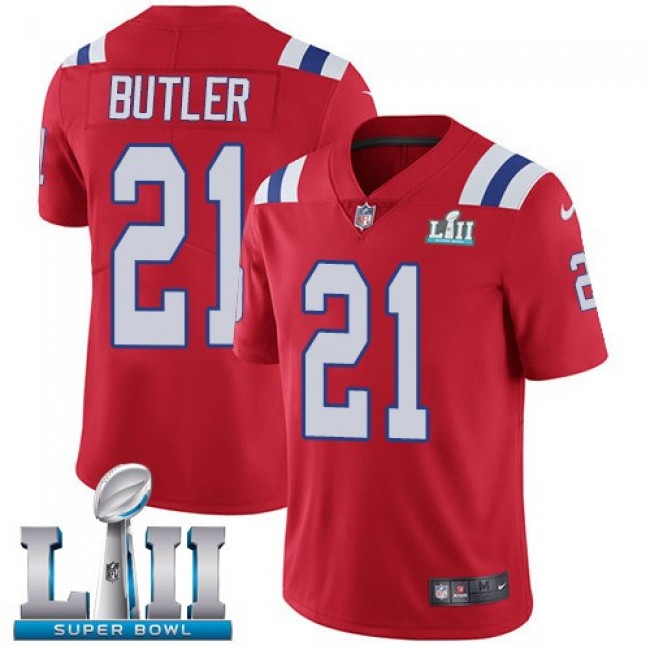 New England Patriots #21 Malcolm Butler Red Alternate Super Bowl LII Youth Stitched NFL Vapor Untouchable Limited Jersey