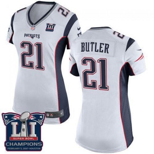 Women's Patriots #21 Malcolm Butler White Super Bowl LI Champions Stitched NFL New Elite Jersey