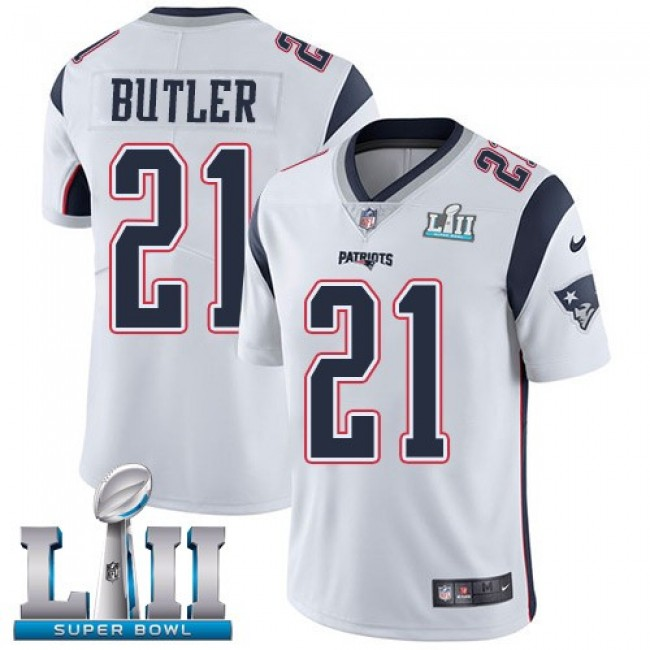 New England Patriots #21 Malcolm Butler White Super Bowl LII Youth Stitched NFL Vapor Untouchable Limited Jersey