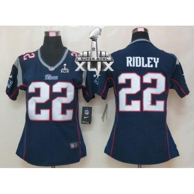 Women's Patriots #22 Stevan Ridley Navy Blue Team Color Super Bowl XLIX Stitched NFL Elite Jersey