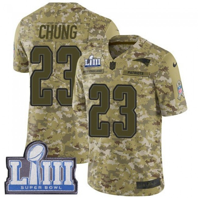 Nike Patriots #23 Patrick Chung Camo Super Bowl LIII Bound Men's Stitched NFL Limited 2018 Salute To Service Jersey
