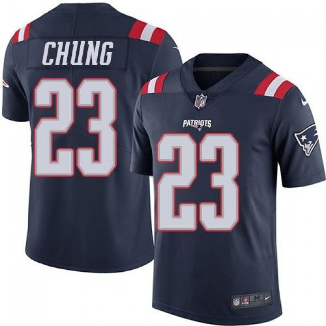 Nike Patriots #23 Patrick Chung Navy Blue Men's Stitched NFL Limited Rush Jersey