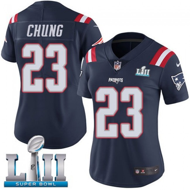 Women's Patriots #23 Patrick Chung Navy Blue Super Bowl LII Stitched NFL Limited Rush Jersey