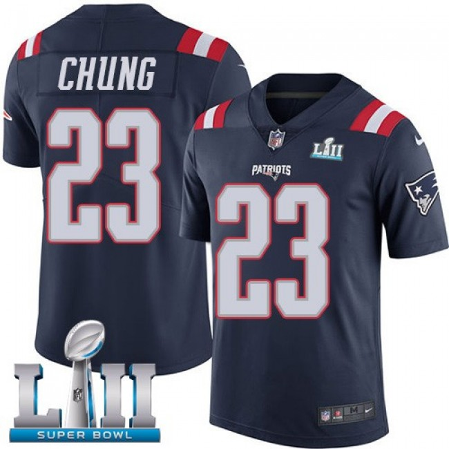 New England Patriots #23 Patrick Chung Navy Blue Super Bowl LII Youth Stitched NFL Limited Rush Jersey