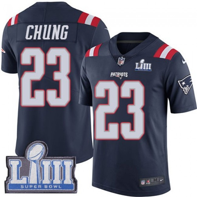 Nike Patriots #23 Patrick Chung Navy Blue Super Bowl LIII Bound Men's Stitched NFL Limited Rush Jersey