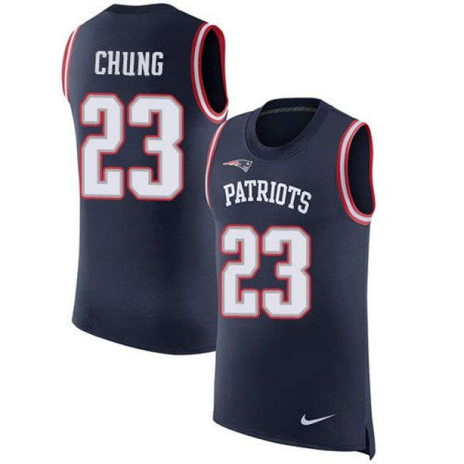 Nike Patriots #23 Patrick Chung Navy Blue Team Color Men's Stitched NFL Limited Rush Tank Top Jersey