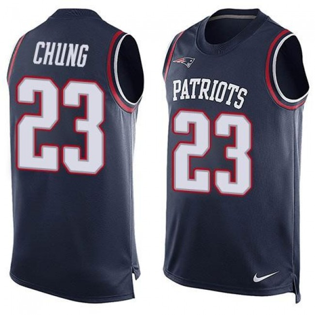 Nike Patriots #23 Patrick Chung Navy Blue Team Color Men's Stitched NFL Limited Tank Top Jersey