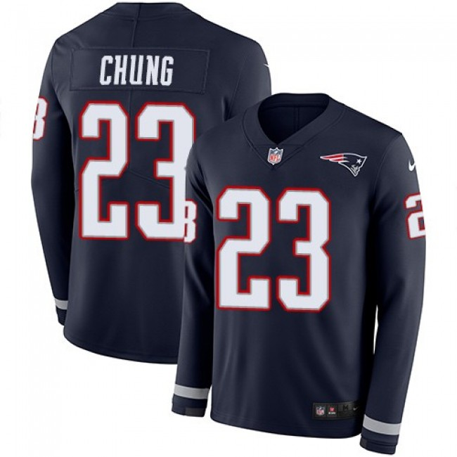 Nike Patriots #23 Patrick Chung Navy Blue Team Color Men's Stitched NFL Limited Therma Long Sleeve Jersey