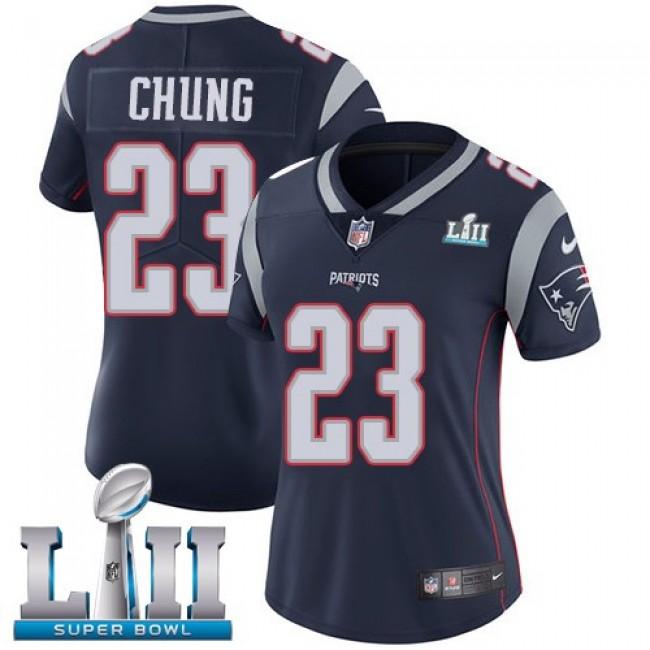 Women's Patriots #23 Patrick Chung Navy Blue Team Color Super Bowl LII Stitched NFL Vapor Untouchable Limited Jersey