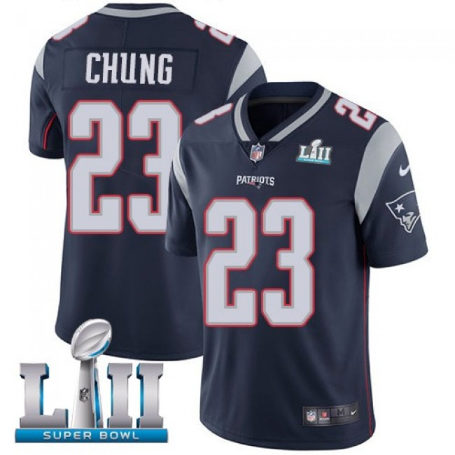 New England Patriots #23 Patrick Chung Navy Blue Team Color Super Bowl LII Youth Stitched NFL Vapor Untouchable Limited Jersey