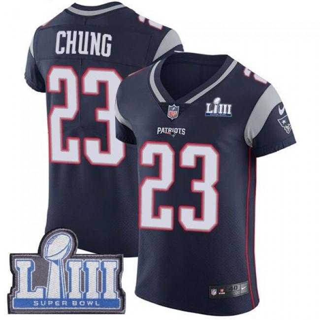 Nike Patriots #23 Patrick Chung Navy Blue Team Color Super Bowl LIII Bound Men's Stitched NFL Vapor Untouchable Elite Jersey
