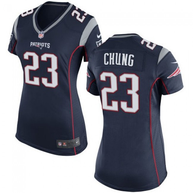 Women's Patriots #23 Patrick Chung Navy Blue Team Color Stitched NFL New Elite Jersey