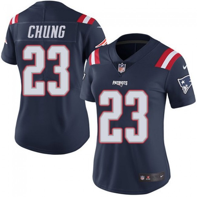 Women's Patriots #23 Patrick Chung Navy Blue Stitched NFL Limited Rush Jersey
