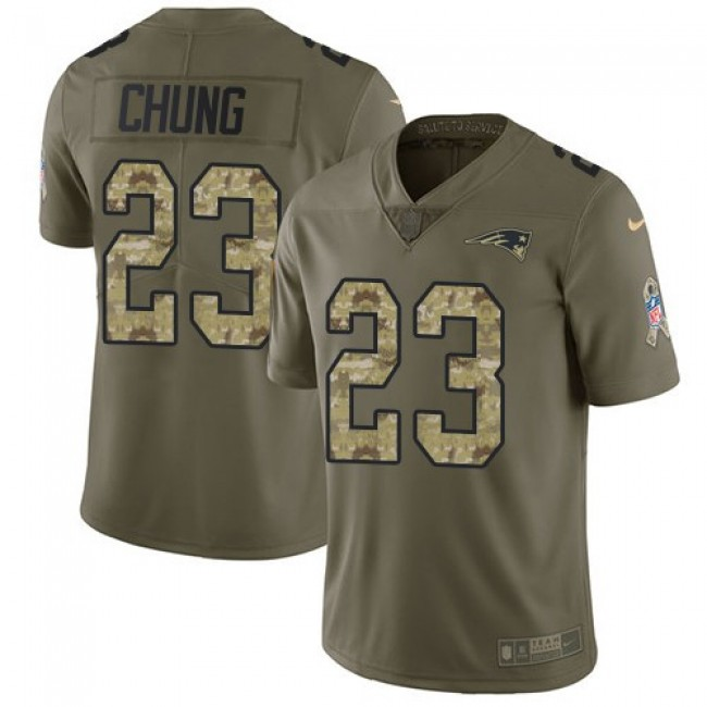 Nike Patriots #23 Patrick Chung Olive/Camo Men's Stitched NFL Limited 2017 Salute To Service Jersey