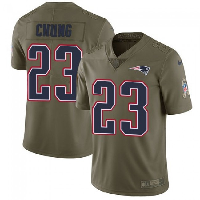 Nike Patriots #23 Patrick Chung Olive Men's Stitched NFL Limited 2017 Salute To Service Jersey