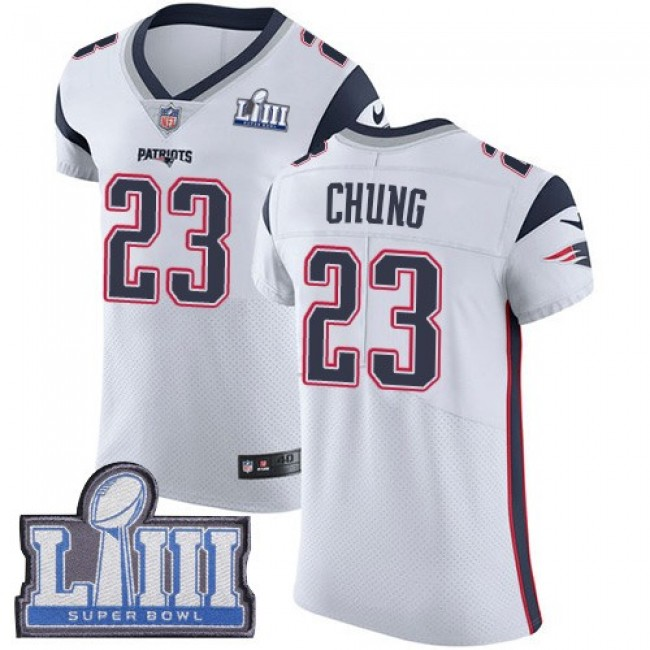 Nike Patriots #23 Patrick Chung White Super Bowl LIII Bound Men's Stitched NFL Vapor Untouchable Elite Jersey