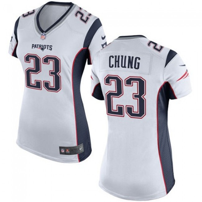 Women's Patriots #23 Patrick Chung White Stitched NFL New Elite Jersey