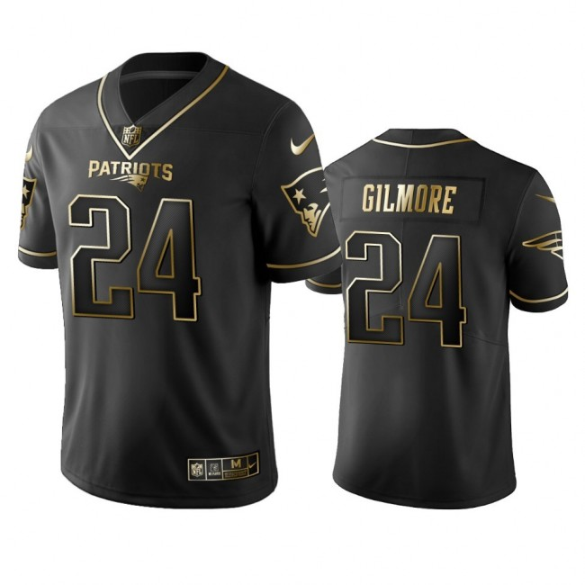 Nike Patriots #24 Stephon Gilmore Black Golden Limited Edition Stitched NFL Jersey