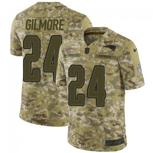 Nike Patriots #24 Stephon Gilmore Camo Men's Stitched NFL Limited 2018 Salute To Service Jersey