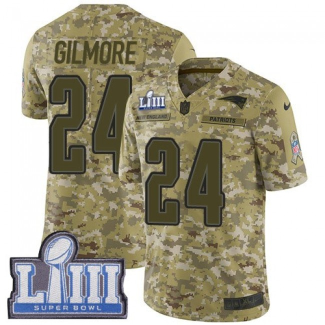 Nike Patriots #24 Stephon Gilmore Camo Super Bowl LIII Bound Men's Stitched NFL Limited 2018 Salute To Service Jersey