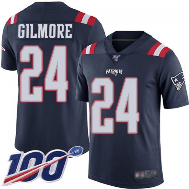 Nike Patriots #24 Stephon Gilmore Navy Blue Men's Stitched NFL Limited Rush 100th Season Jersey