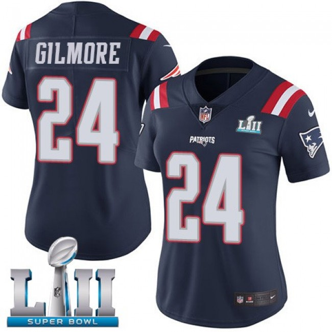 Women's Patriots #24 Stephon Gilmore Navy Blue Super Bowl LII Stitched NFL Limited Rush Jersey