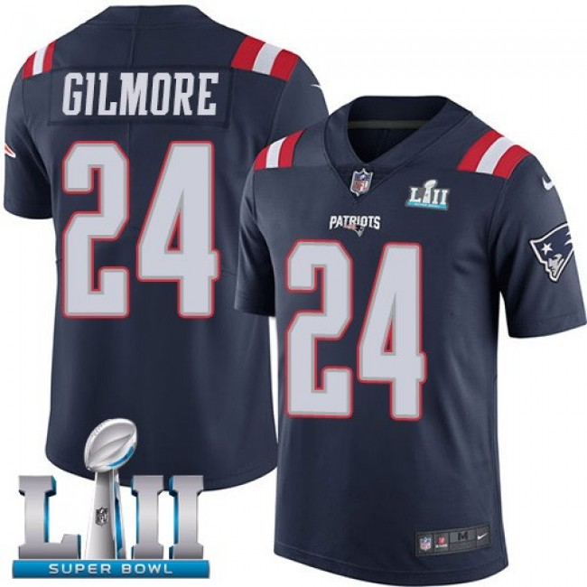 New England Patriots #24 Stephon Gilmore Navy Blue Super Bowl LII Youth Stitched NFL Limited Rush Jersey