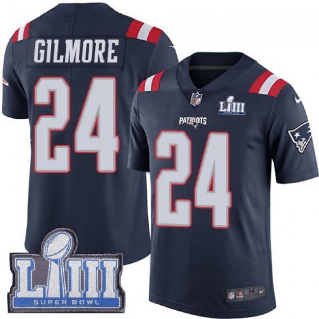 Nike Patriots #24 Stephon Gilmore Navy Blue Super Bowl LIII Bound Men's Stitched NFL Limited Rush Jersey