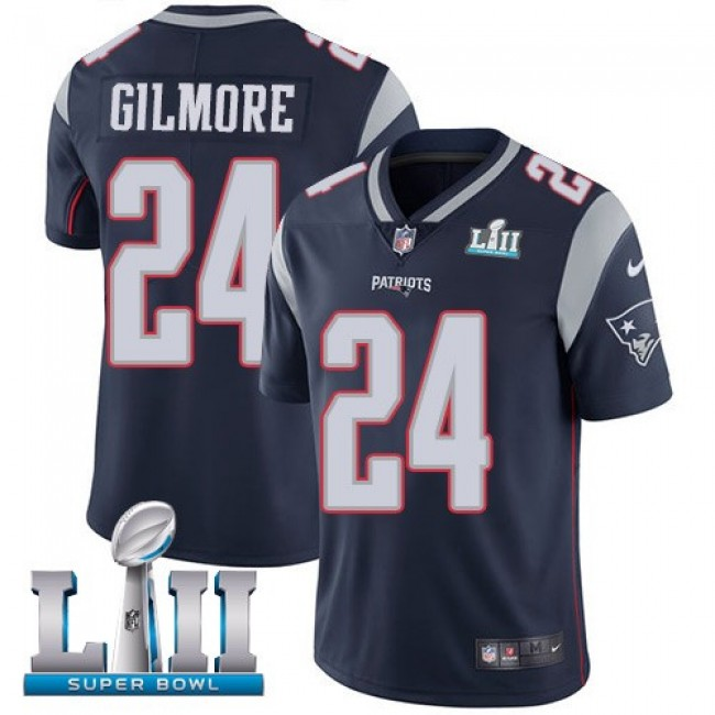 New England Patriots #24 Stephon Gilmore Navy Blue Team Color Super Bowl LII Youth Stitched NFL Vapor Untouchable Limited Jersey