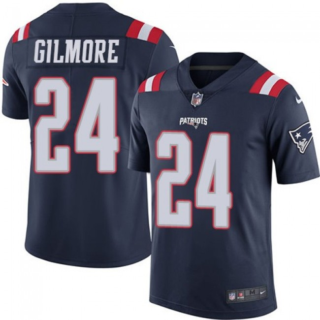 New England Patriots #24 Stephon Gilmore Navy Blue Youth Stitched NFL Limited Rush Jersey