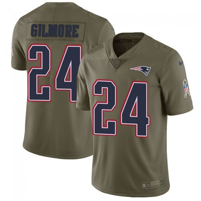 Nike Patriots #24 Stephon Gilmore Olive Men's Stitched NFL Limited 2017 Salute To Service Jersey