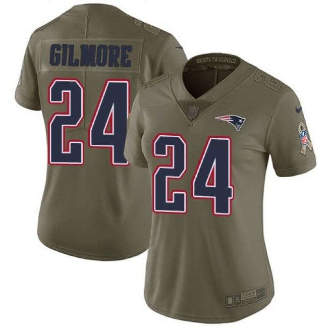 Women's Patriots #24 Stephon Gilmore Olive Stitched NFL Limited 2017 Salute to Service Jersey