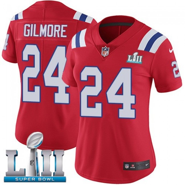 Women's Patriots #24 Stephon Gilmore Red Alternate Super Bowl LII Stitched NFL Vapor Untouchable Limited Jersey