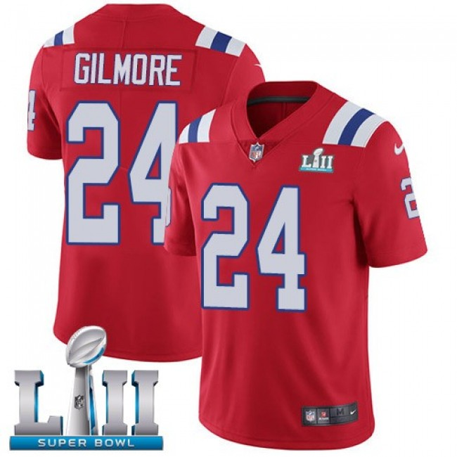 New England Patriots #24 Stephon Gilmore Red Alternate Super Bowl LII Youth Stitched NFL Vapor Untouchable Limited Jersey