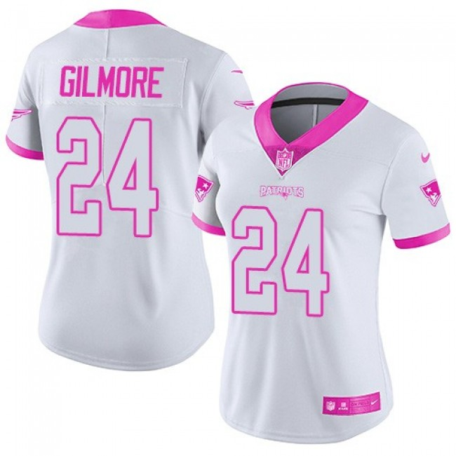 Women's Patriots #24 Stephon Gilmore White Pink Stitched NFL Limited Rush Jersey