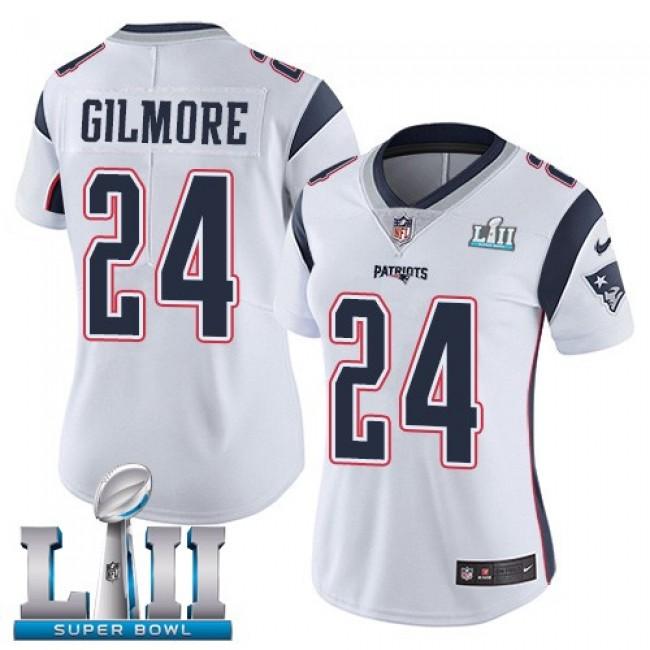 Women's Patriots #24 Stephon Gilmore White Super Bowl LII Stitched NFL Vapor Untouchable Limited Jersey