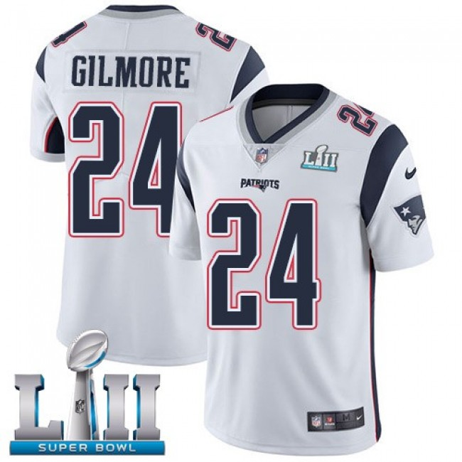 New England Patriots #24 Stephon Gilmore White Super Bowl LII Youth Stitched NFL Vapor Untouchable Limited Jersey