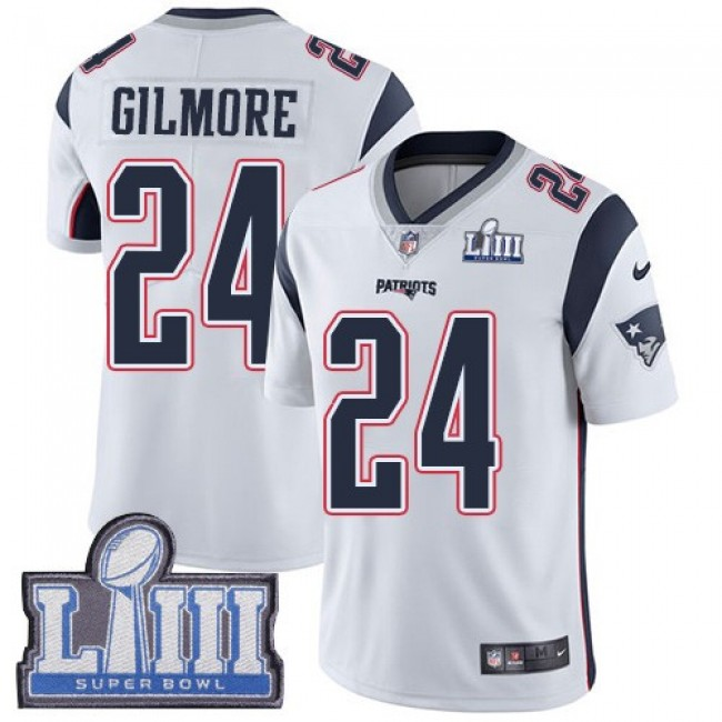 Nike Patriots #24 Stephon Gilmore White Super Bowl LIII Bound Men's Stitched NFL Vapor Untouchable Limited Jersey