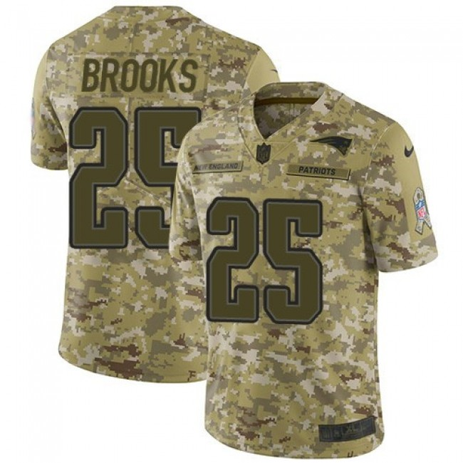 Nike Patriots #25 Terrence Brooks Camo Men's Stitched NFL Limited 2018 Salute To Service Jersey