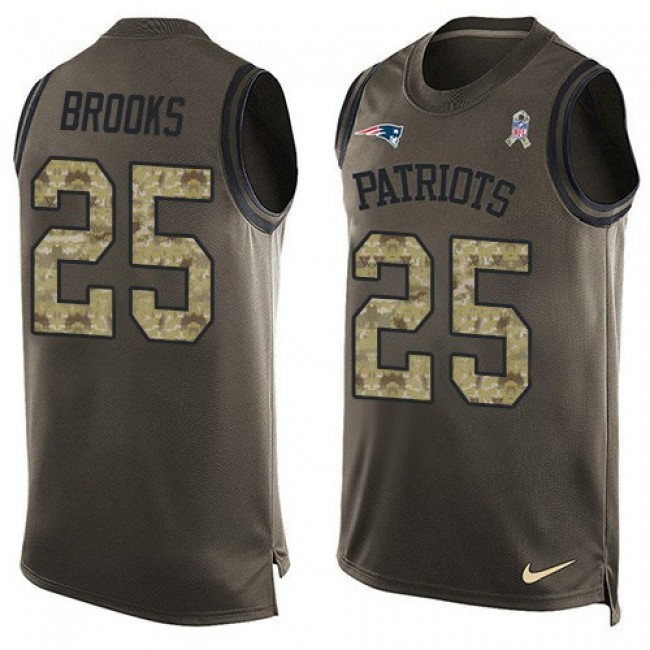 Nike Patriots #25 Terrence Brooks Green Men's Stitched NFL Limited Salute To Service Tank Top Jersey