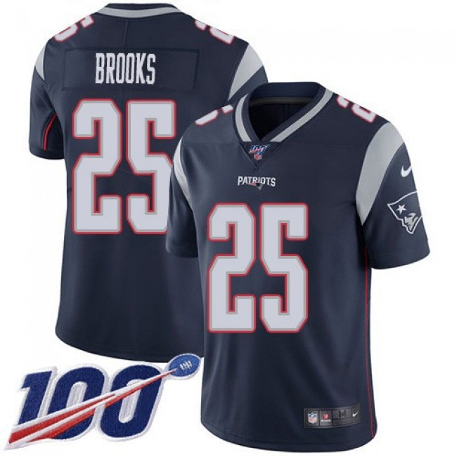 Nike Patriots #25 Terrence Brooks Navy Blue Team Color Men's Stitched NFL 100th Season Vapor Limited Jersey
