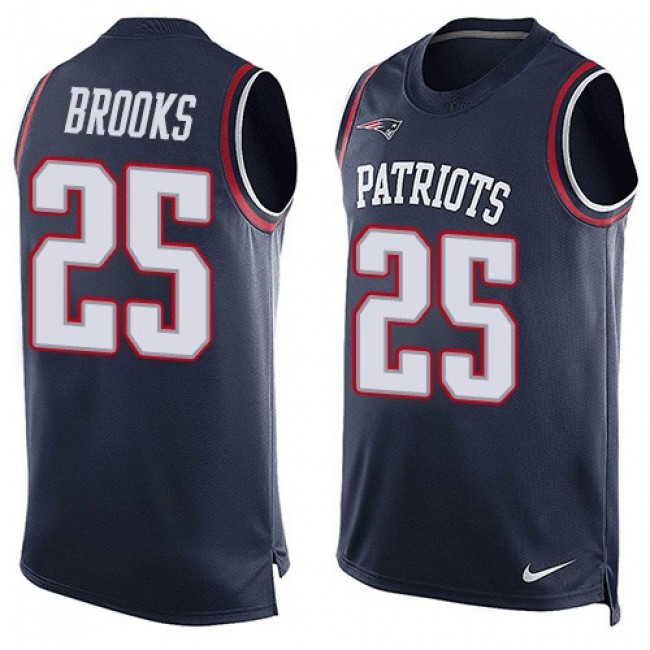 Nike Patriots #25 Terrence Brooks Navy Blue Team Color Men's Stitched NFL Limited Tank Top Jersey