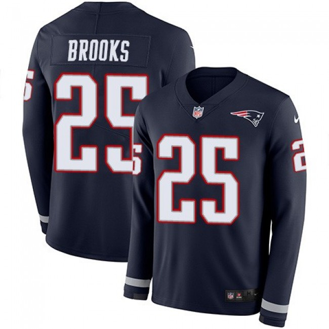 Nike Patriots #25 Terrence Brooks Navy Blue Team Color Men's Stitched NFL Limited Therma Long Sleeve Jersey