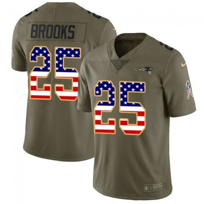 Nike Patriots #25 Terrence Brooks Olive/USA Flag Men's Stitched NFL Limited 2017 Salute To Service Jersey