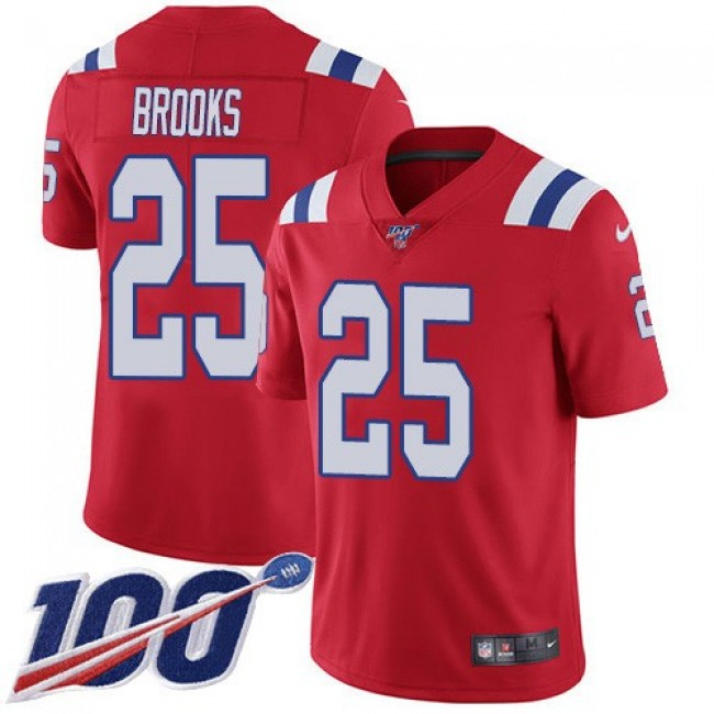 Nike Patriots #25 Terrence Brooks Red Alternate Men's Stitched NFL 100th Season Vapor Limited Jersey