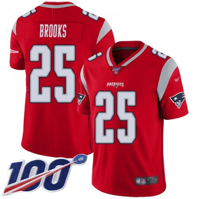 Nike Patriots #25 Terrence Brooks Red Men's Stitched NFL Limited Inverted Legend 100th Season Jersey